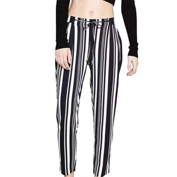 HA38 2016 Women Harem Pants Fashion Streetwear Blue Striped print elastic waist  Drawstring Pocket Trousers Casual Brand