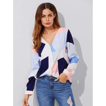 Multicolor V-Neck Long Sleeve Blouse