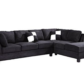 Glory Furniture G635-SC Sectional Sofa, Black, 2 boxes