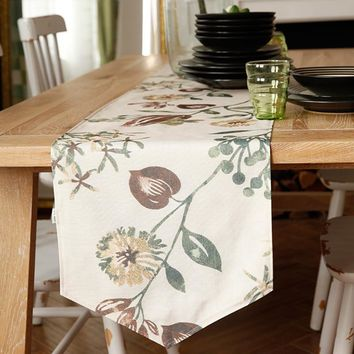 Betty Table Runner Pastoral Plants Rectangle TV Stand Coffee Dining Decor Cover Polyester Faux linen Print Tablecloth