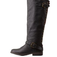 Studded Back-Zipper Knee-High Riding Boots