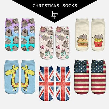 New 3D Print Socks Pusheen Giraffe avocado Flag fish Women Socks Cute Ankle Sock Multiple Cartoons Casual Type Teenager Socks