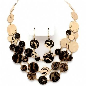 Ladonna's Shiny Gold Disc Multi Strand Necklace Set