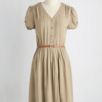 90s Mid-length Short Sleeves A-line Take to the Wind Dress in Tan