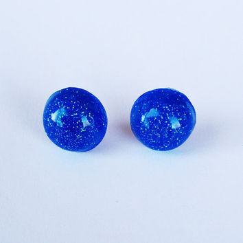 Electric Blue Glitter Resin Stud Earrings