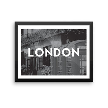 London | TRAVEL ART PRINT | A5/A4/A3/A2 - London Travel Poster, England, United Kingdom, Graphic Design, Typography, Black and White