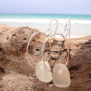 Hawaiian Kauai Clear Beach Glass on 925 Sterling Silver Wire Circular Hoop Earrings
