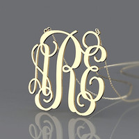 New monogram style necklace gold plated 1 inch initial name pendant necklace jewelry