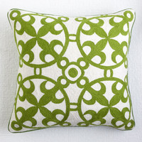 Moroccan Crewelwork Pillow Cover - Green