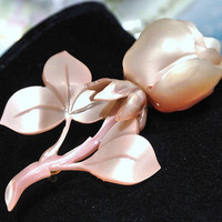 Antique Lucite Rose Brooch Carved Circa 1930s 1940s Art Deco WWII Jazz Era Sweetheart Mom Mother Hand Crafted Artisan OOAK Peach Flower
