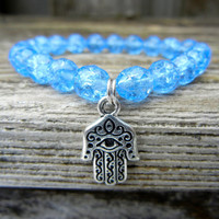 Beaded Stretch Charm Bracelet with Light Blue Czech Glass Beads and Silver Hamsa Charm