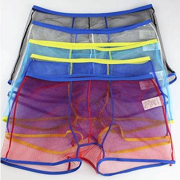 Sexy Men Child Mesh Boxers Transparent Boxer Shorts See Through Underwear
