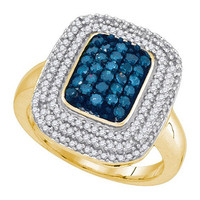 Blue Diamond Fashion Ring in 10k Gold 0.75 ctw