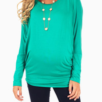 Emerald-Green-Basic-Long-Sleeve-Maternity-Top