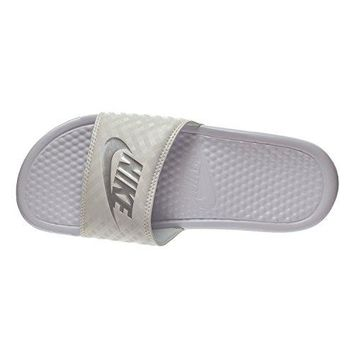 Nike Benassi JDI Women's Sandals White/Metallic Silver 343881-102