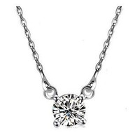 Solitaire in 925 Sterling Silver Necklace