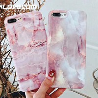 LOVECOM Pink Girly Marble Texture Phone Cases for iPhone X 6 6S 7 8 Plus Soft IMD Full Protect Glossy Phone Back Cover Coque