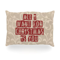 """Sylvia Cook """"All I Want For Christmas"""" Holiday Oblong Pillow"""