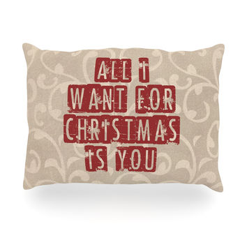 "Sylvia Cook ""All I Want For Christmas"" Holiday Oblong Pillow"