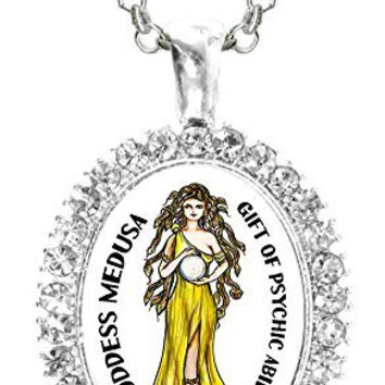 Goddess Medusa Gift of Psychic Ability Cz Crystal Silver Necklace Pendant