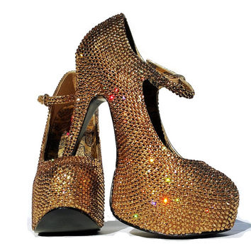 Sparkly High heels shoes-Swarovski Crystal Pumps-Bling Heels-Bling Shoes-Glitter Shoes-Rhinstone Heel Shoes-Evening Shoes-strass heels-gold