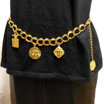 Authentic Vintage CHANEL Castellane Season 23 Heavy Gold Medallion Metal Belt
