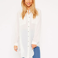 Long Sleeve Front Button Blouse with Pocket