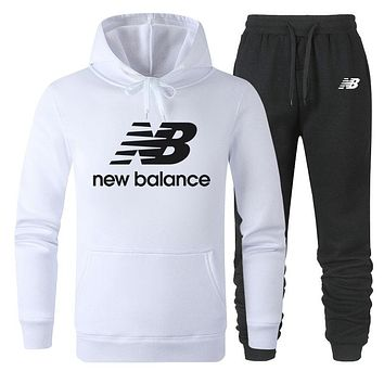 NB New Balance 2019 new simple solid color sports suit two-piece White