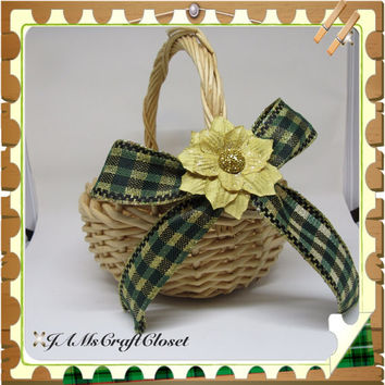 Unique Round Woven Natural Flower Girl Basket-Green-Gold Bow With Blinged Flower Accent-Wedding-Gift Idea-Home Decor-Country Decor-Catch All