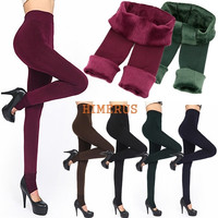 Fashion 6Colors Brushed Stretch Fleece Lined Thick Tights Warm Winter Pants Warm Leggings Black
