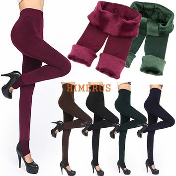 Fashion 6Colors Brushed Stretch Fleece Lined Thick Tights Warm Winter Pants Warm Leggings Black = 1945694660