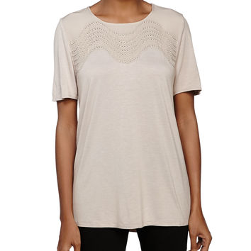 Short-Sleeve Embellished Top, Seastone, Size: