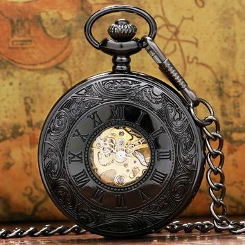 New Steampunk Retro Roman Number Pendant Mechanical Pocket Watch Men Women With Pin Chain P807C