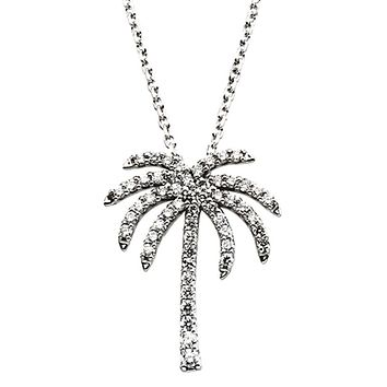1/3 cttw Diamond Palm Tree Necklace in 14k White Gold