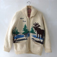 STOREWIDE SALE. Cowichan Sweater / 50s sweater / cardigan sweater / moose sweater