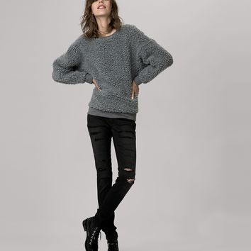 maje GOAL Faux Shearling sweatshirt at Maje US