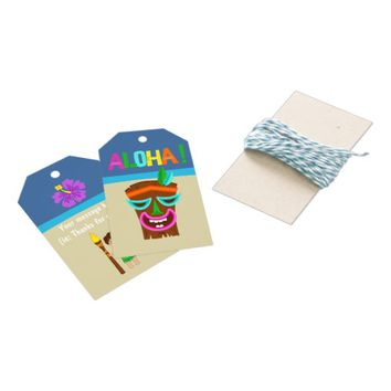 Kids Hawaiian Luau Party Gift Tags