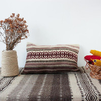 Handwoven wool pillow cover in brown, red and white,  handmade wool cover, kilim wool pillow case, handwoven unique boho pillow cover