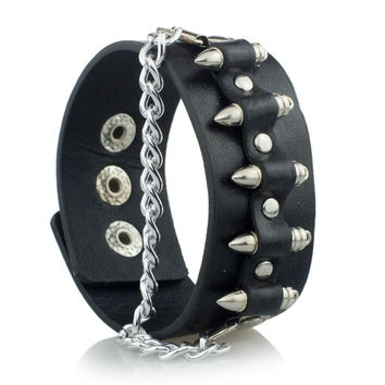 Gothic Punk Unique Bullet Shape Chain Link Rock Cool Cuff Leather Bracelet Bangle S061