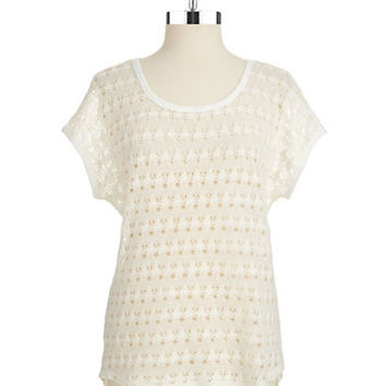 Two By Vince Camuto Short Sleeved Lace Top