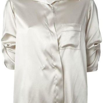 DCCKIN3 Donna Karan satin three-quarter sleeve shirt