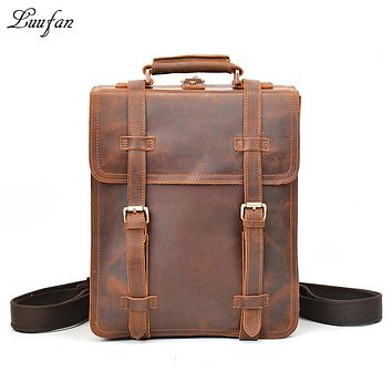 Men's vintage crazy horse leather rucksack three interlayer Laptop genuine leather backpack thick cow leather school bag