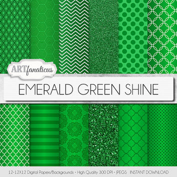 "Green digital paper, ""EMERALD GREEN SHINE"" background, emerald, glitter, chevron, quatrefoil, celtic knot, St. Patrick's, blog background"