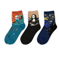 3 Pair World Famous Painting Fine Art Socks Mona Lisa The Scream Starry Night