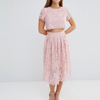 True Decadence Petite | True Decadence Petite 2 In 1 Allover Lace Full Prom Skater Dress at ASOS