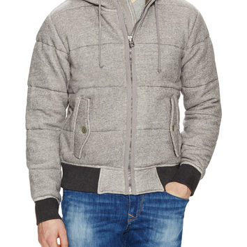 Burkman Bros Men's Quilted Fleece Hooded Jacket - Grey -