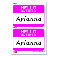 Arianna Hello My Name Is - Sheet of 2 Stickers
