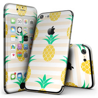 Cartoon Pineapples Over Stripes - 4-Piece Skin Kit for the iPhone 7 or 7 Plus