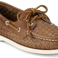 Sperry Top-Sider Cloud Logo Authentic Original 2-Eye Woven Boat Shoe TanWoven, Size 9M  Women's
