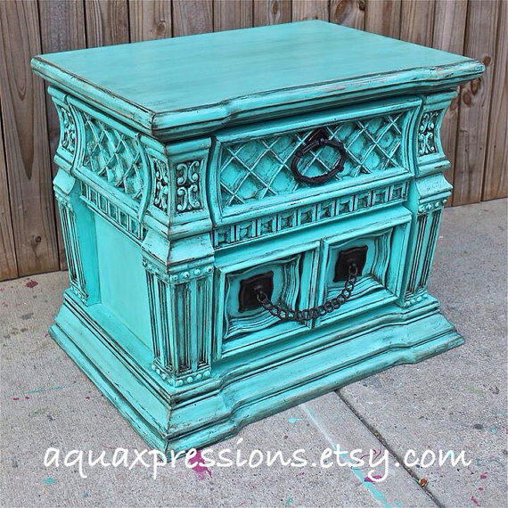 Vintage Blue Bedroom Bedroom End Tables Modern Master Bedroom Bed Designs Small Bedroom Decorating Ideas Pictures: Bayside Blue Night Stand/ End Table From AquaXpressions On